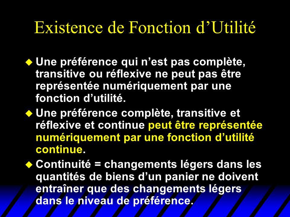 Existence de Fonction dUtilité u Une préférence qui nest pas complète, transitive ou réflexive ne peut pas être représentée numériquement par une fonction dutilité.