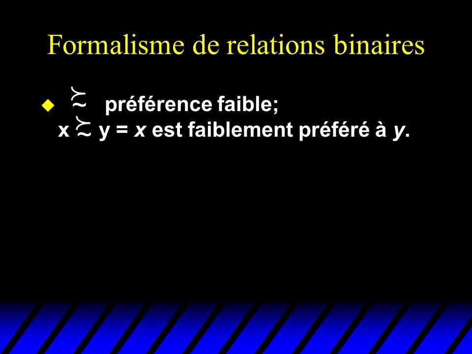 Formalisme de relations binaires préférence faible; x y = x est faiblement préféré à y. ~ ~