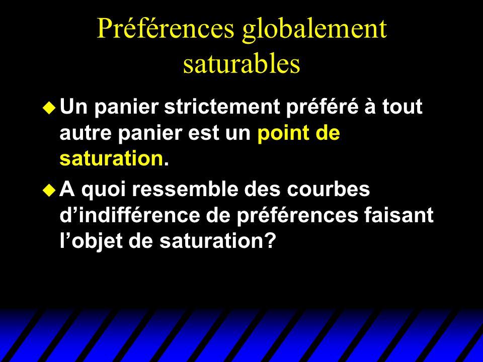 Préférences globalement saturables u Un panier strictement préféré à tout autre panier est un point de saturation.
