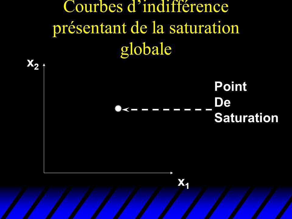 Courbes dindifférence présentant de la saturation globale x2x2x2x2 x1x1x1x1 PointDe Saturation