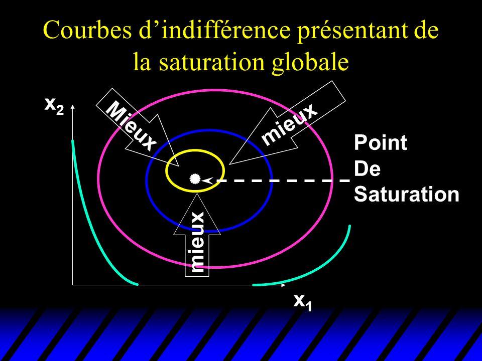 Courbes dindifférence présentant de la saturation globale x2x2x2x2 x1x1x1x1 mieux Mieux mieux PointDe Saturation