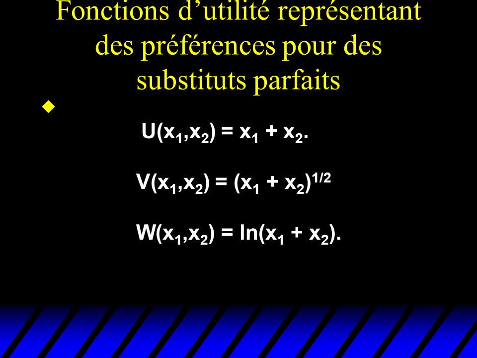 Fonctions dutilité représentant des préférences pour des substituts parfaits u U(x 1,x 2 ) = x 1 + x 2.