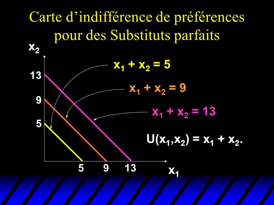 Carte dindifférence de préférences pour des Substituts parfaits 5 5 9 9 13 x1x1 x2x2 x 1 + x 2 = 5 x 1 + x 2 = 9 x 1 + x 2 = 13 U(x 1,x 2 ) = x 1 + x 2.
