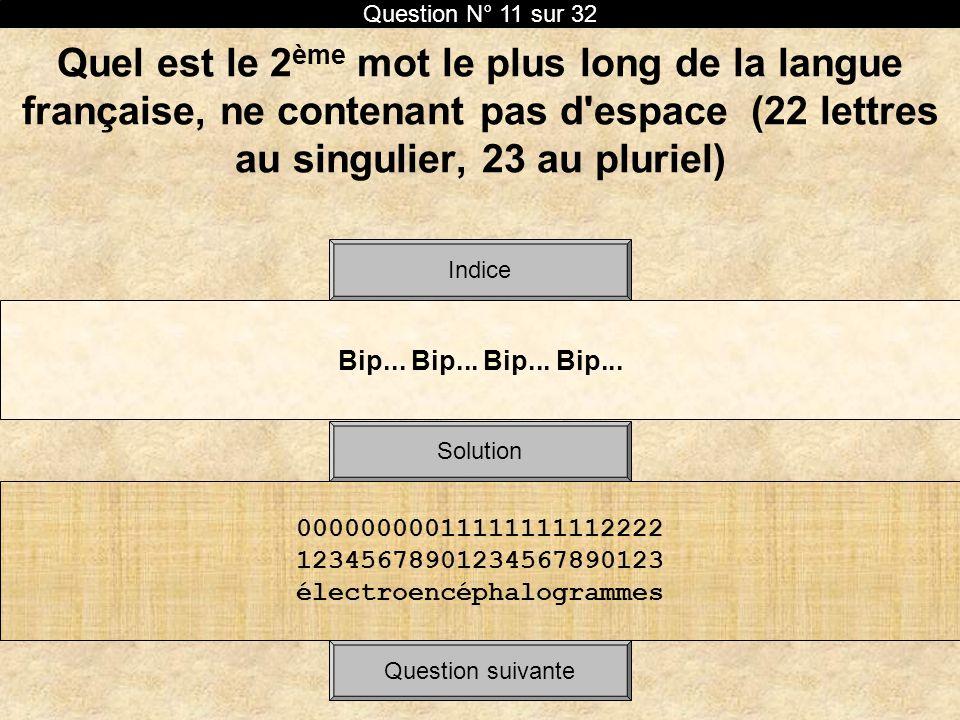 Quel est le 2 ème mot le plus long de la langue française, ne contenant pas d'espace (22 lettres au singulier, 23 au pluriel) Bip... Bip... Solution I