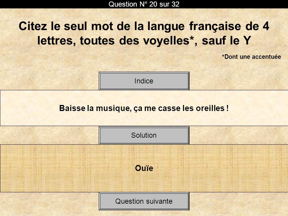 Citez le seul mot de la langue française de 4 lettres, toutes des voyelles*, sauf le Y. *Dont une accentuée Baisse la musique, ça me casse les oreille