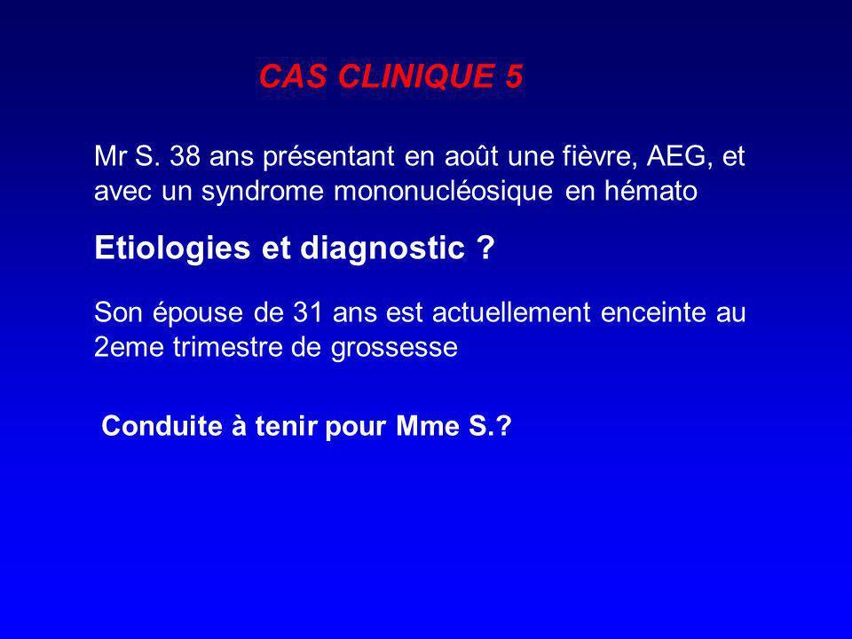 Mr S. 38 ans présentant en août une fièvre, AEG, et avec un syndrome mononucléosique en hémato Etiologies et diagnostic ? Son épouse de 31 ans est act