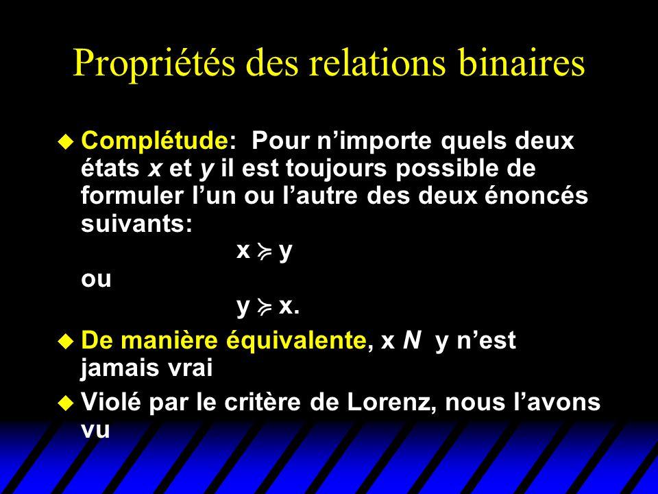 Propriétés des relations binaires u Complétude: Pour nimporte quels deux états x et y il est toujours possible de formuler lun ou lautre des deux énoncés suivants: x y ou y x.
