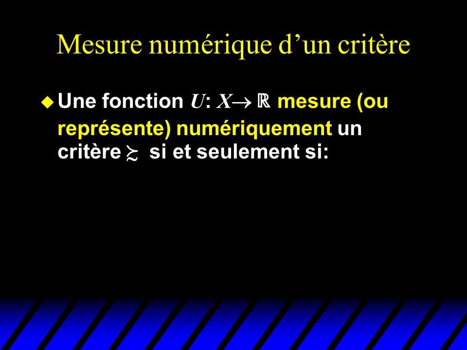 Mesure numérique dun critère Une fonction U : X mesure (ou représente) numériquement un critère si et seulement si: