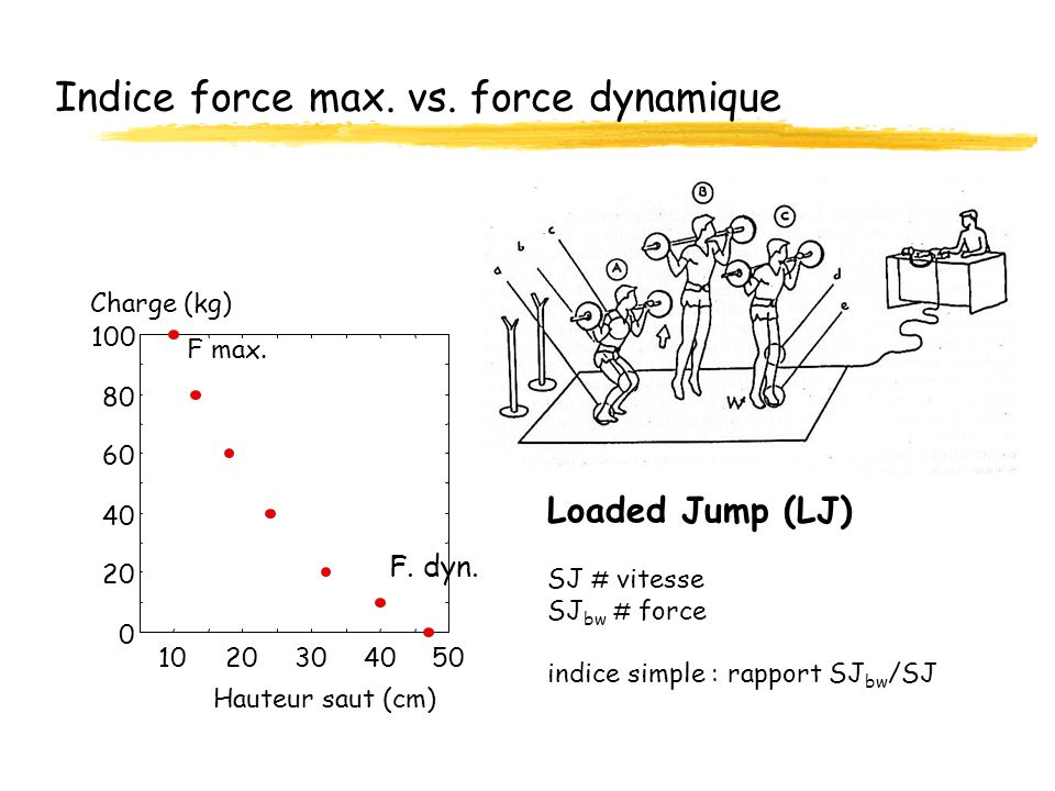 Indice force max. vs. force dynamique Loaded Jump (LJ) SJ # vitesse SJ bw # force indice simple : rapport SJ bw /SJ 0 20 40 60 80 100 1020304050 Haute