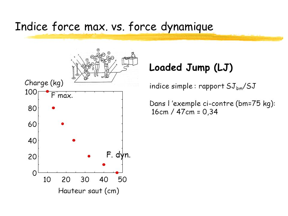Indice force max. vs. force dynamique Loaded Jump (LJ) indice simple : rapport SJ bm /SJ Dans l exemple ci-contre (bm=75 kg): 16cm / 47cm = 0,34 0 20