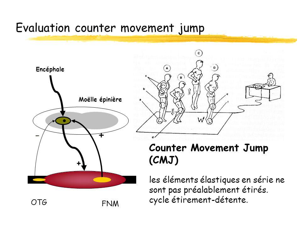 Evaluation counter movement jump Counter Movement Jump (CMJ) les éléments élastiques en série ne sont pas préalablement étirés. cycle étirement-détent