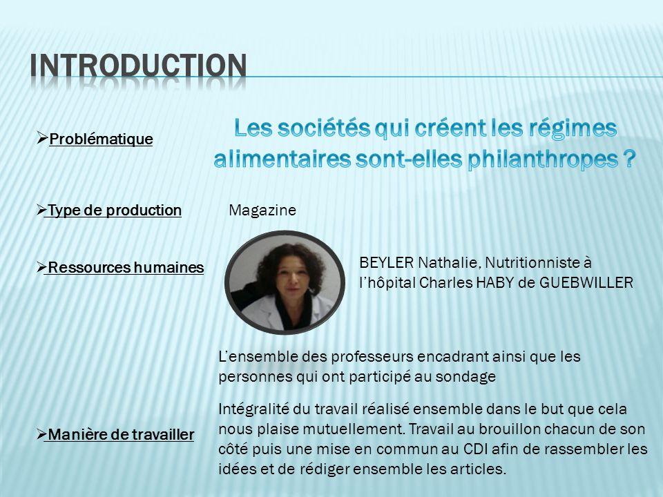 Problématique Ressources humaines BEYLER Nathalie, Nutritionniste à lhôpital Charles HABY de GUEBWILLER Type de productionMagazine Lensemble des profe