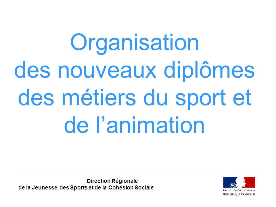 Organisation des nouveaux diplômes des métiers du sport et de lanimation Direction Régionale de la Jeunesse, des Sports et de la Cohésion Sociale