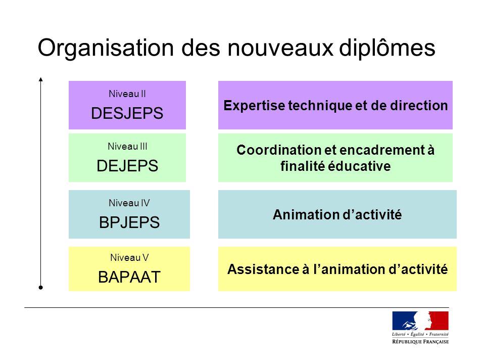 Organisation des nouveaux diplômes Niveau V BAPAAT Niveau IV BPJEPS Niveau III DEJEPS Niveau II DESJEPS Assistance à lanimation dactivité Animation da