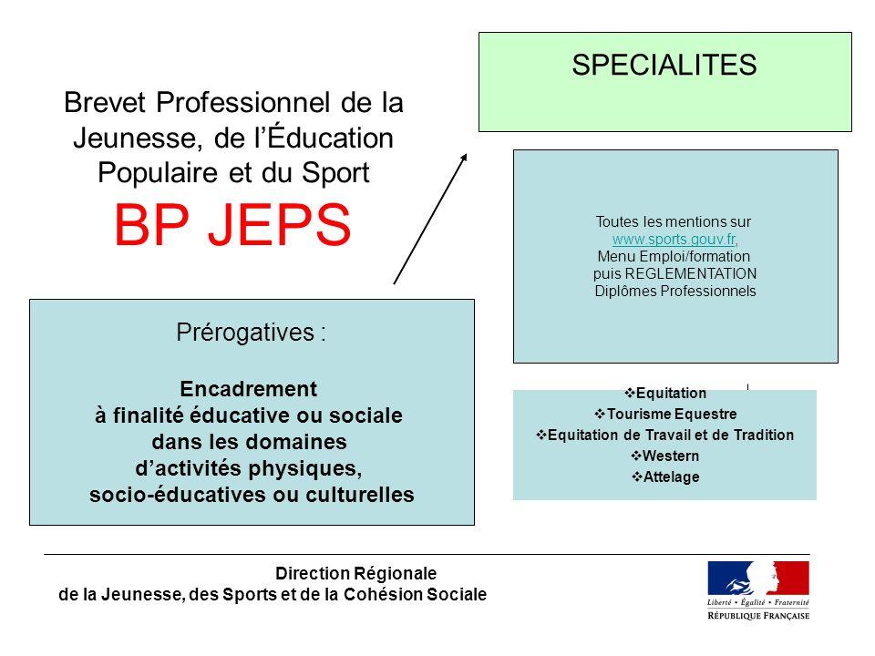 Brevet Professionnel de la Jeunesse, de lÉducation Populaire et du Sport BP JEPS Direction Régionale de la Jeunesse, des Sports et de la Cohésion Soci