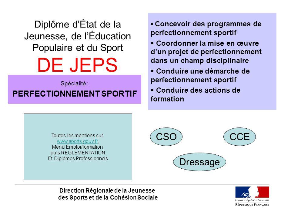 Diplôme dÉtat de la Jeunesse, de lÉducation Populaire et du Sport DE JEPS Direction Régionale de la Jeunesse des Sports et de la Cohésion Sociale Spéc