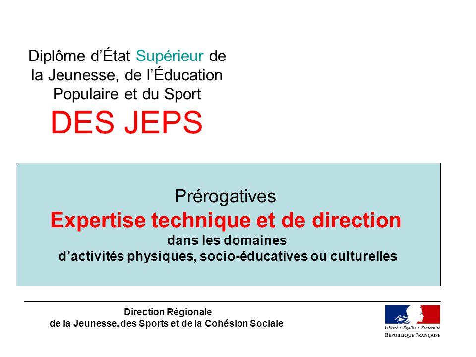 Diplôme dÉtat Supérieur de la Jeunesse, de lÉducation Populaire et du Sport DES JEPS Direction Régionale de la Jeunesse, des Sports et de la Cohésion