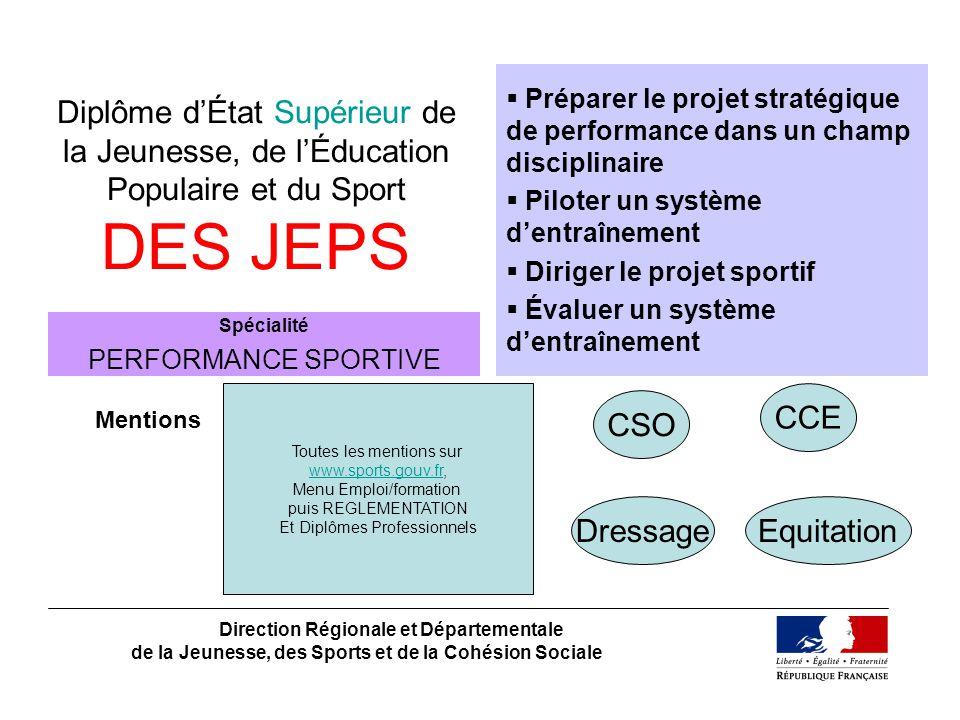 Diplôme dÉtat Supérieur de la Jeunesse, de lÉducation Populaire et du Sport DES JEPS Direction Régionale et Départementale de la Jeunesse, des Sports