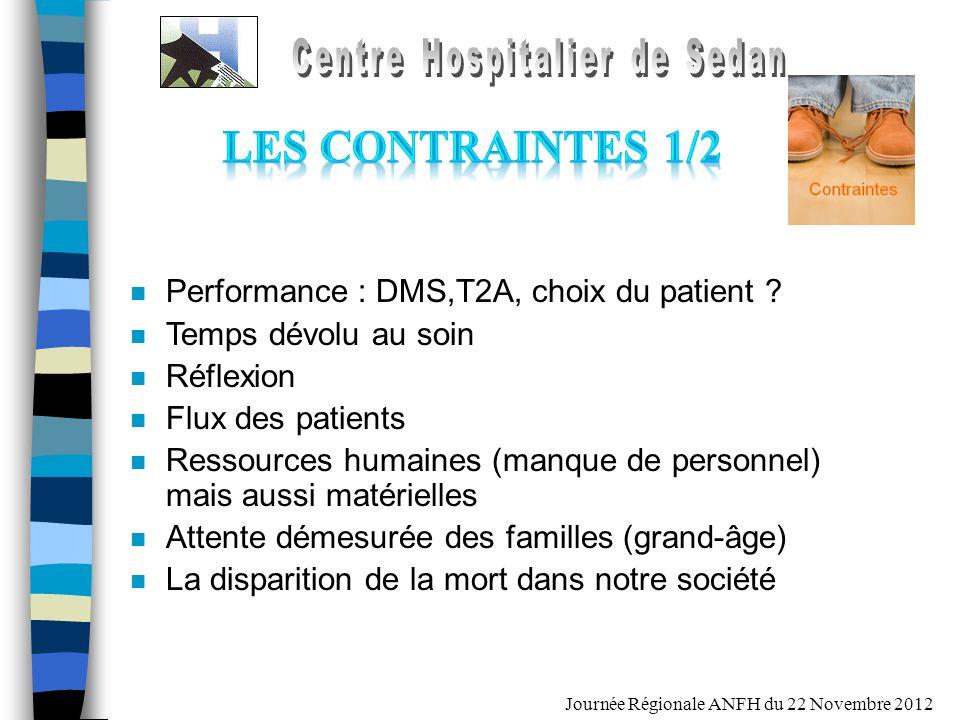 Journée Régionale ANFH du 22 Novembre 2012 n Performance : DMS,T2A, choix du patient ? n Temps dévolu au soin n Réflexion n Flux des patients n Ressou