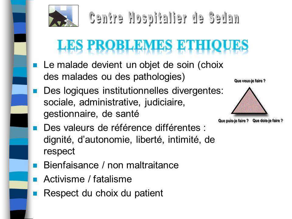 n Le malade devient un objet de soin (choix des malades ou des pathologies) n Des logiques institutionnelles divergentes: sociale, administrative, jud