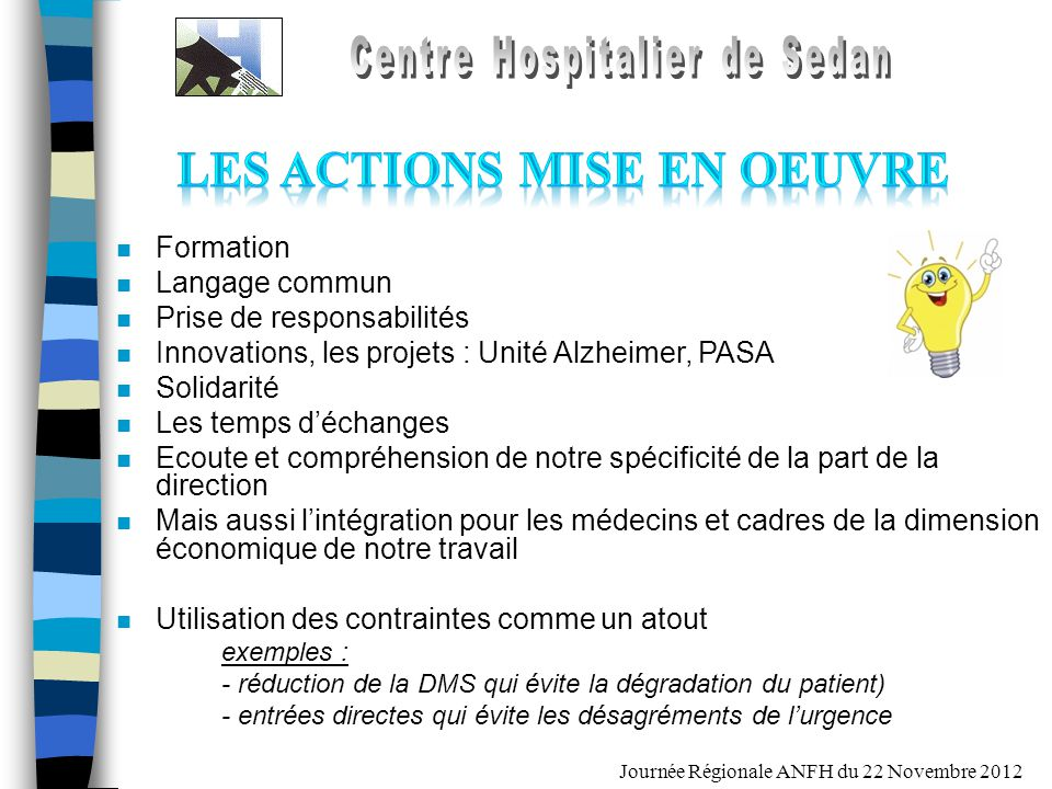 Journée Régionale ANFH du 22 Novembre 2012 n Formation n Langage commun n Prise de responsabilités n Innovations, les projets : Unité Alzheimer, PASA