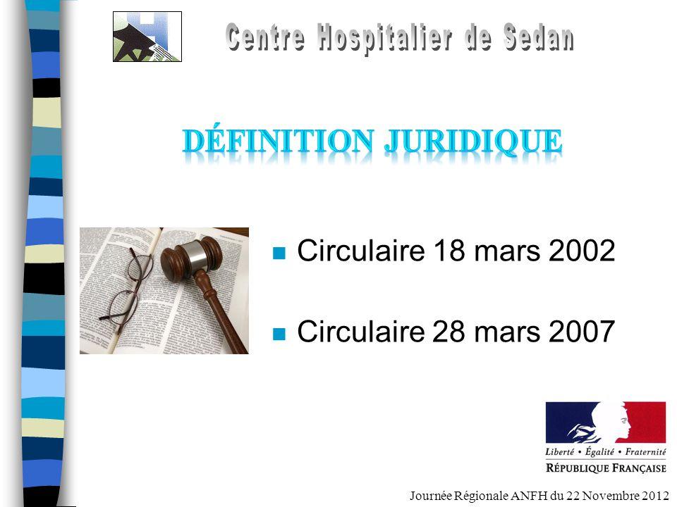 Journée Régionale ANFH du 22 Novembre 2012 n Circulaire 18 mars 2002 n Circulaire 28 mars 2007