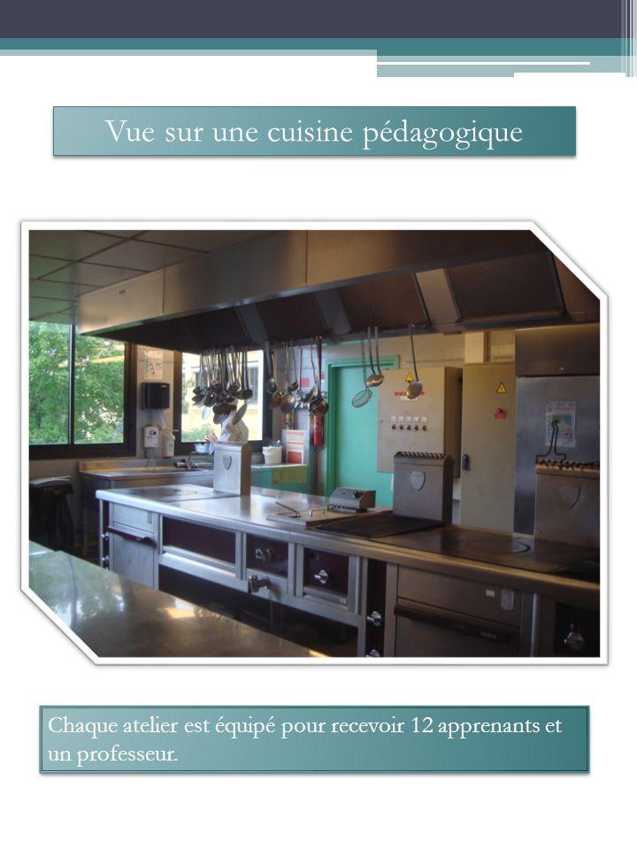 Vue sur une cuisine pédagogique Chaque atelier est équipé pour recevoir 12 apprenants et un professeur.