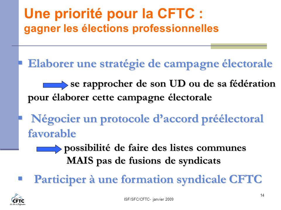 ISF/SFC/CFTC- janvier 2009 14 Une priorité pour la CFTC : gagner les élections professionnelles Elaborer une stratégie de campagne électorale Elaborer