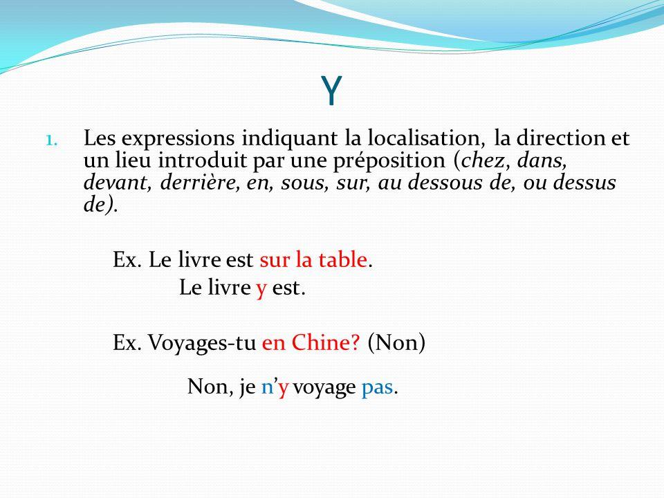 Y 1. Les expressions indiquant la localisation, la direction et un lieu introduit par une préposition (chez, dans, devant, derrière, en, sous, sur, au