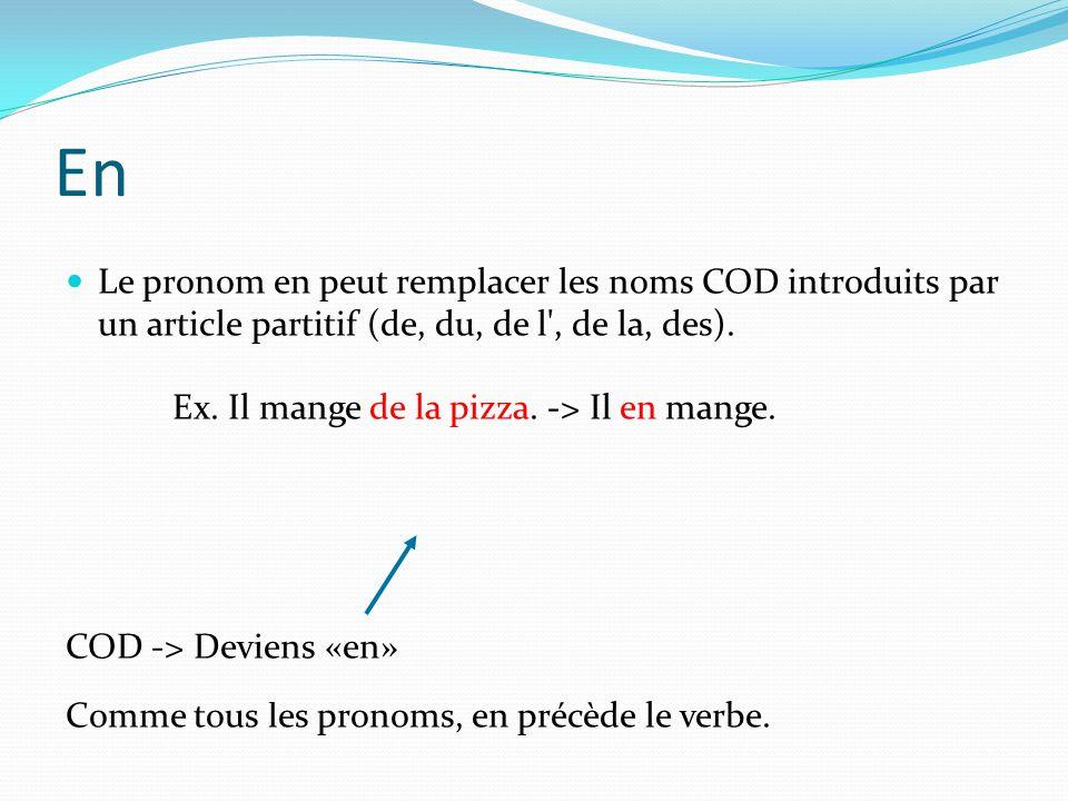En Le pronom en peut aussi remplacer les noms introduits par un nombre ou une expression de quantité ou un article indéfini singulier (un, une).