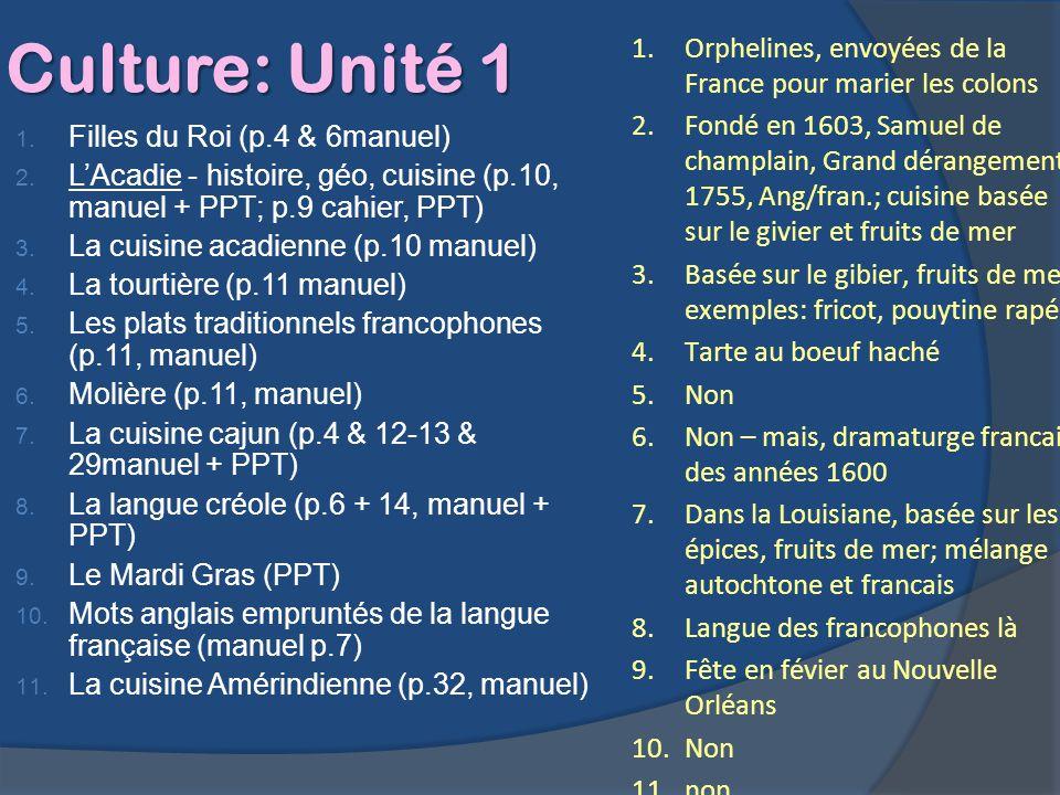 Culture: Unité 1 1. Filles du Roi (p.4 & 6manuel) 2. LAcadie - histoire, géo, cuisine (p.10, manuel + PPT; p.9 cahier, PPT) 3. La cuisine acadienne (p