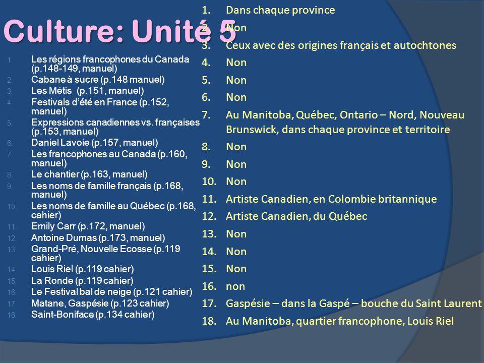 Culture: Unité 5 1. Les régions francophones du Canada (p.148-149, manuel) 2. Cabane à sucre (p.148 manuel) 3. Les Métis (p.151, manuel) 4. Festivals