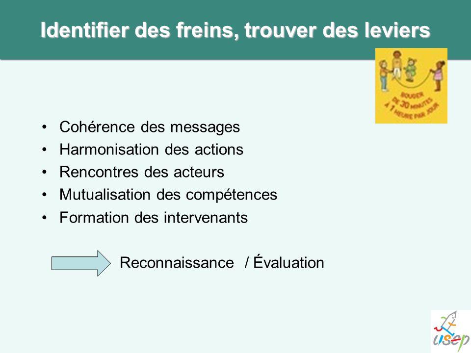 Cohérence des messages Harmonisation des actions Rencontres des acteurs Mutualisation des compétences Formation des intervenants Reconnaissance / Éval