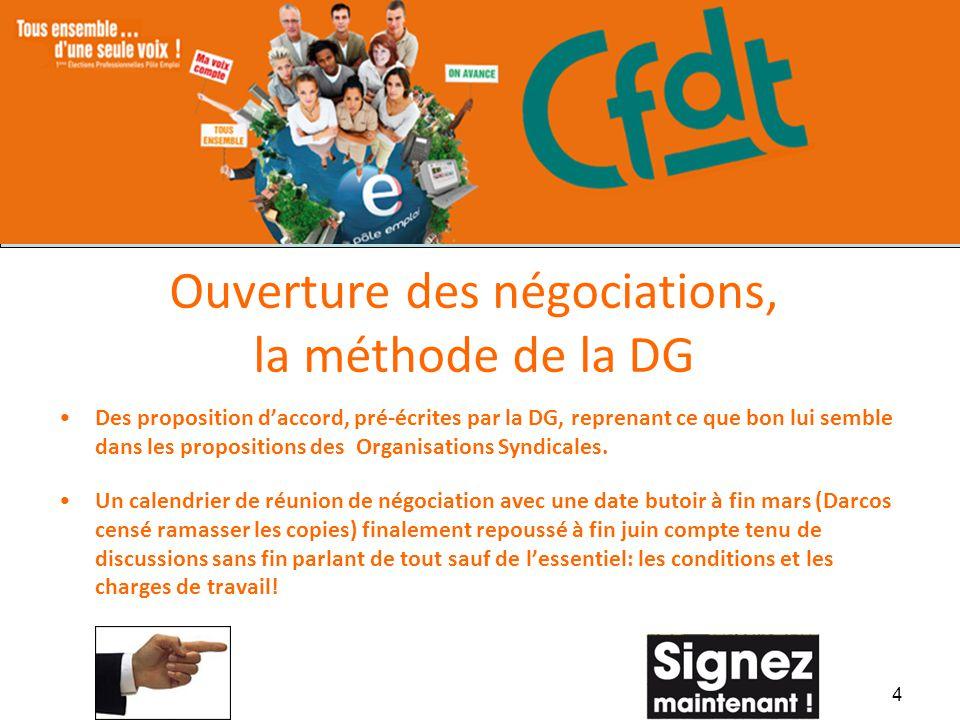 Ouverture des négociations, la méthode de la DG Des proposition daccord, pré-écrites par la DG, reprenant ce que bon lui semble dans les propositions