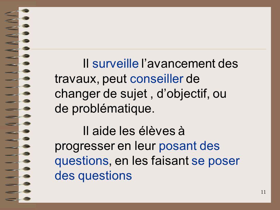 11 Il surveille lavancement des travaux, peut conseiller de changer de sujet, dobjectif, ou de problématique.