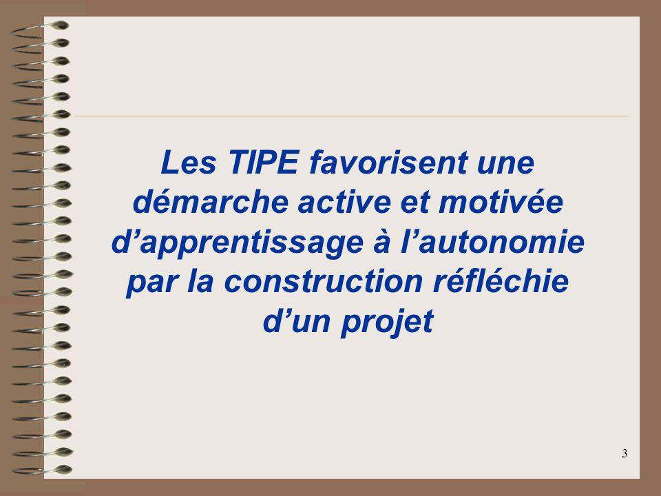 3 Les TIPE favorisent une démarche active et motivée dapprentissage à lautonomie par la construction réfléchie dun projet