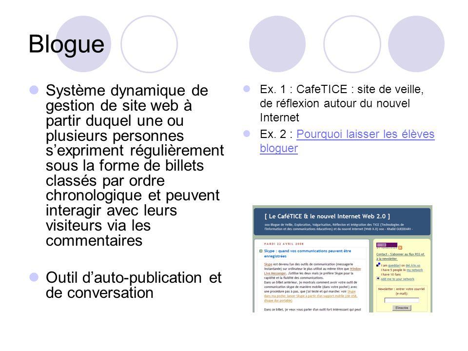 Blogue Système dynamique de gestion de site web à partir duquel une ou plusieurs personnes sexpriment régulièrement sous la forme de billets classés p