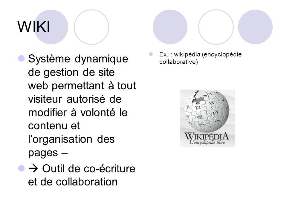 WIKI Système dynamique de gestion de site web permettant à tout visiteur autorisé de modifier à volonté le contenu et lorganisation des pages – Outil