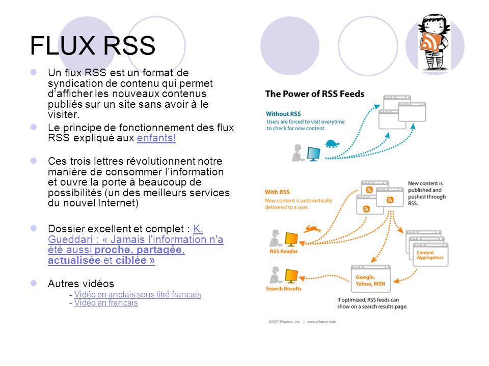 FLUX RSS Un flux RSS est un format de syndication de contenu qui permet dafficher les nouveaux contenus publiés sur un site sans avoir à le visiter. L
