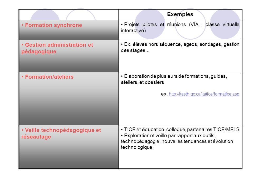 Exemples Formation synchrone Projets pilotes et réunions (VIA : classe virtuelle interactive) Gestion administration et pédagogique Ex. élèves hors sé