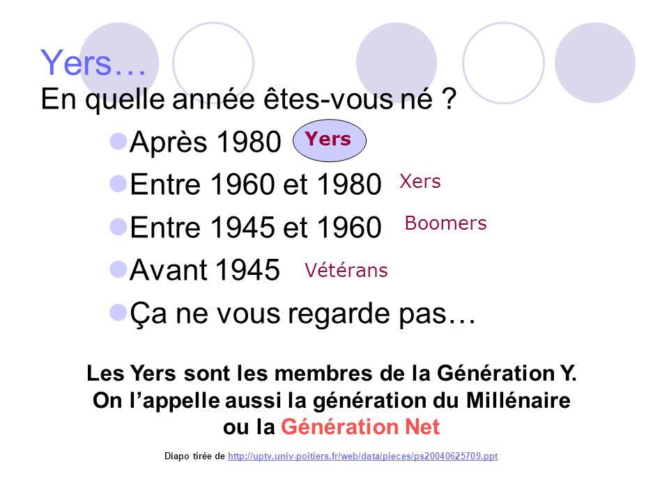 Yers… En quelle année êtes-vous né ? Après 1980 Entre 1960 et 1980 Entre 1945 et 1960 Avant 1945 Ça ne vous regarde pas… Vétérans Boomers Xers Yers Le