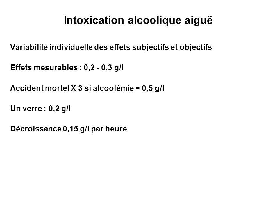 Intoxication alcoolique aiguë Variabilité individuelle des effets subjectifs et objectifs Effets mesurables : 0,2 - 0,3 g/l Accident mortel X 3 si alc