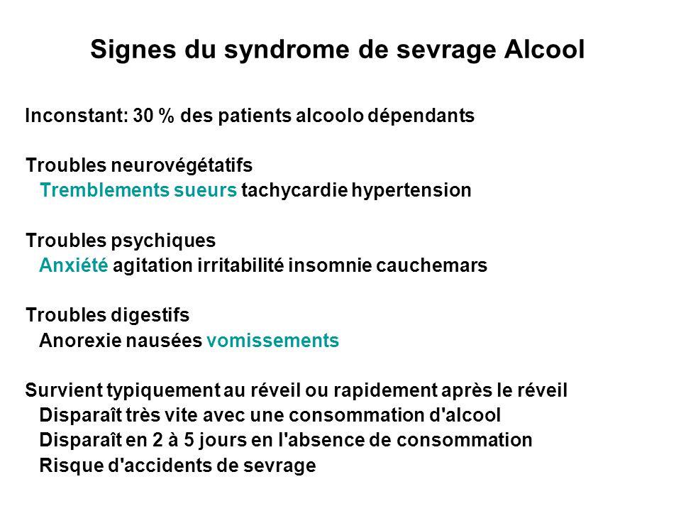 Signes du syndrome de sevrage Alcool Inconstant: 30 % des patients alcoolo dépendants Troubles neurovégétatifs Tremblements sueurs tachycardie hyperte