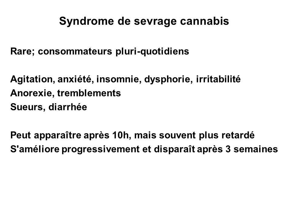 Syndrome de sevrage cannabis Rare; consommateurs pluri-quotidiens Agitation, anxiété, insomnie, dysphorie, irritabilité Anorexie, tremblements Sueurs,