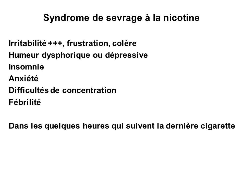 Syndrome de sevrage à la nicotine Irritabilité +++, frustration, colère Humeur dysphorique ou dépressive Insomnie Anxiété Difficultés de concentration