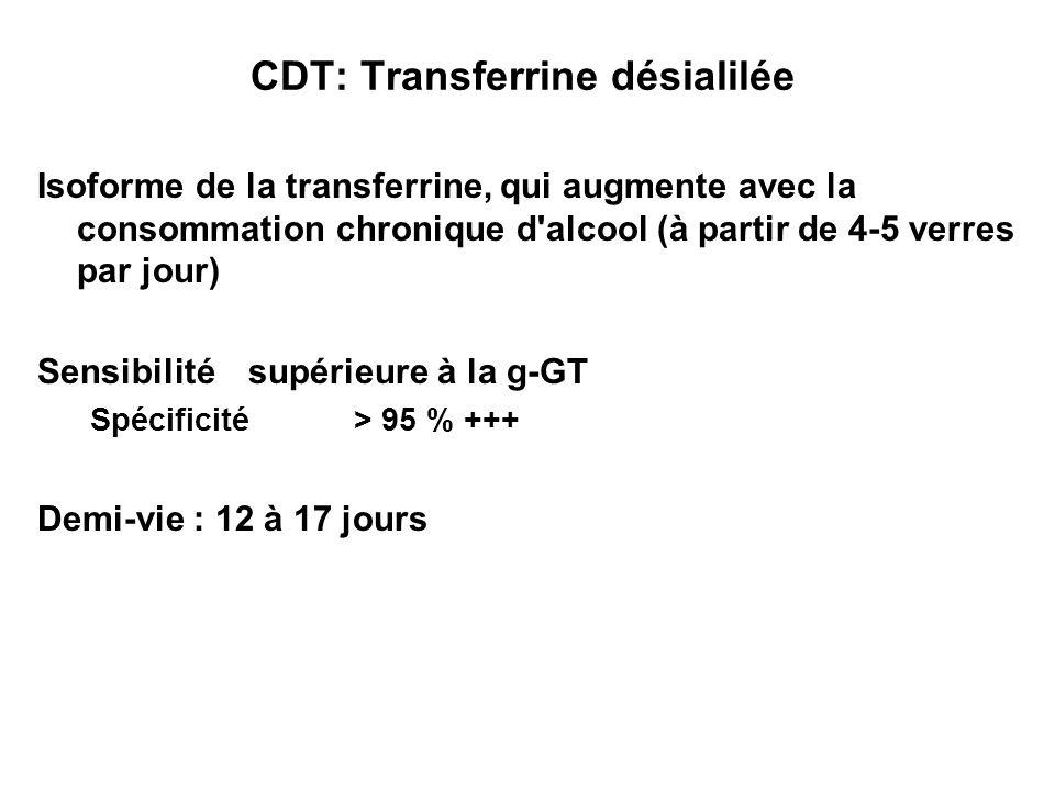 CDT: Transferrine désialilée Isoforme de la transferrine, qui augmente avec la consommation chronique d'alcool (à partir de 4-5 verres par jour) Sensi