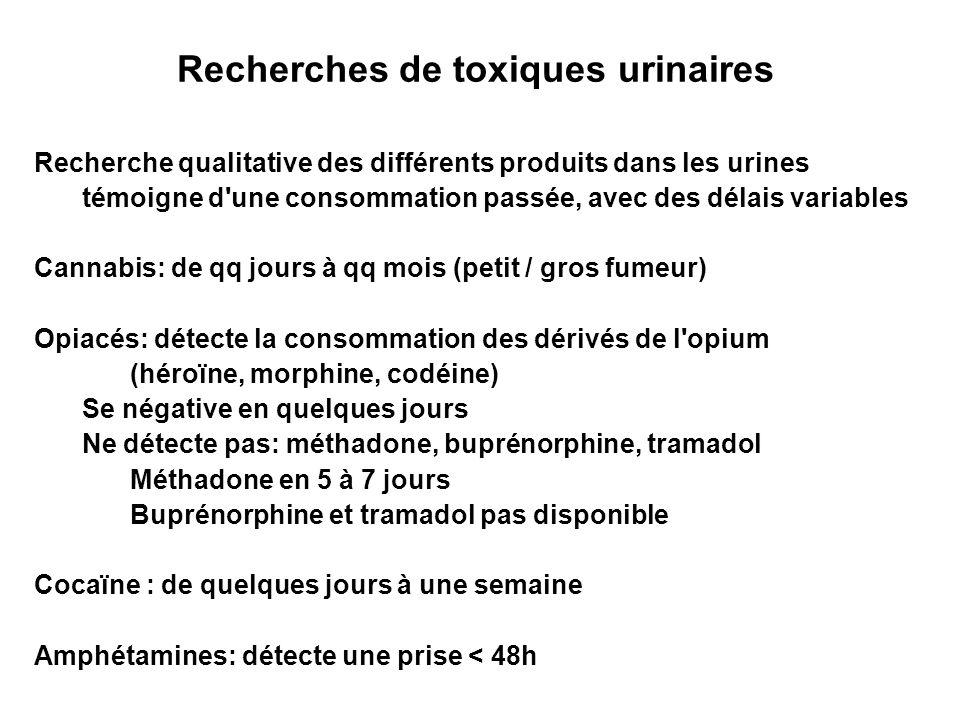 Recherches de toxiques urinaires Recherche qualitative des différents produits dans les urines témoigne d'une consommation passée, avec des délais var