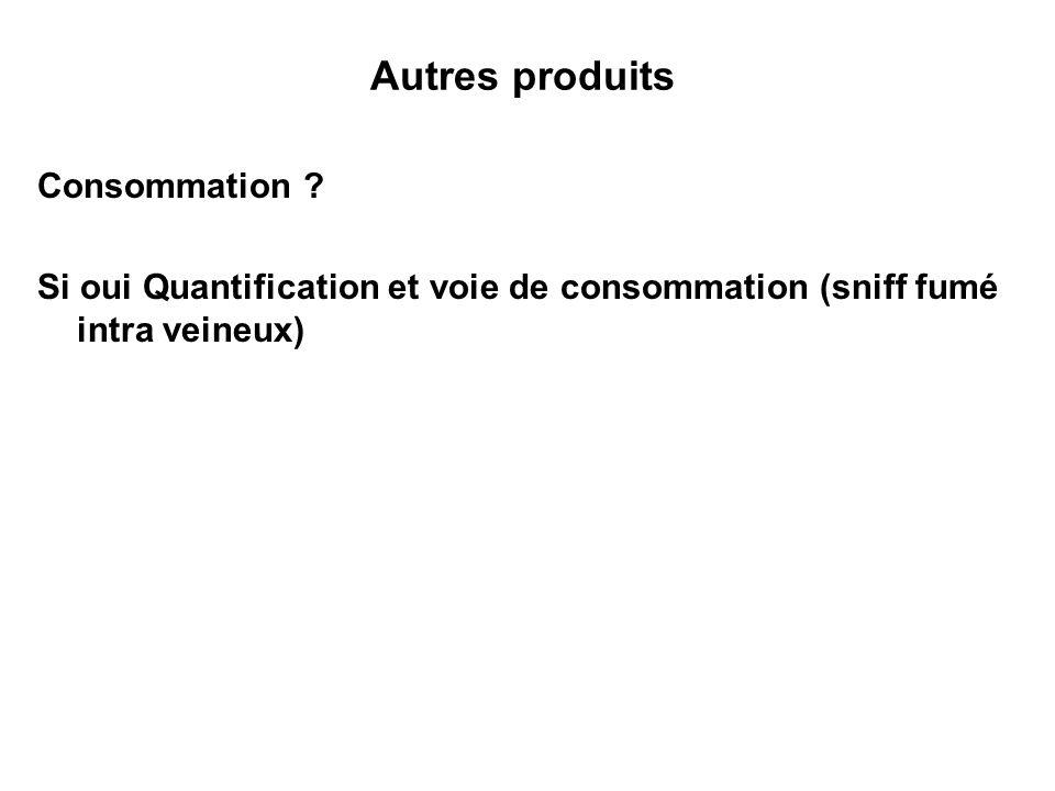 Autres produits Consommation ? Si oui Quantification et voie de consommation (sniff fumé intra veineux)