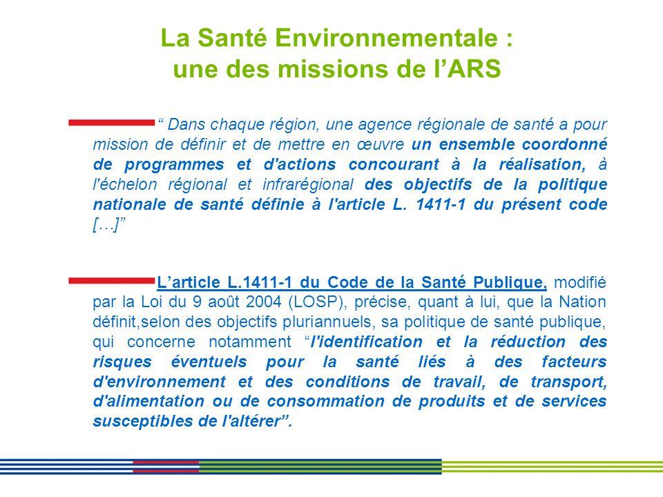 La Santé Environnementale : une des missions de lARS Dans chaque région, une agence régionale de santé a pour mission de définir et de mettre en œuvre