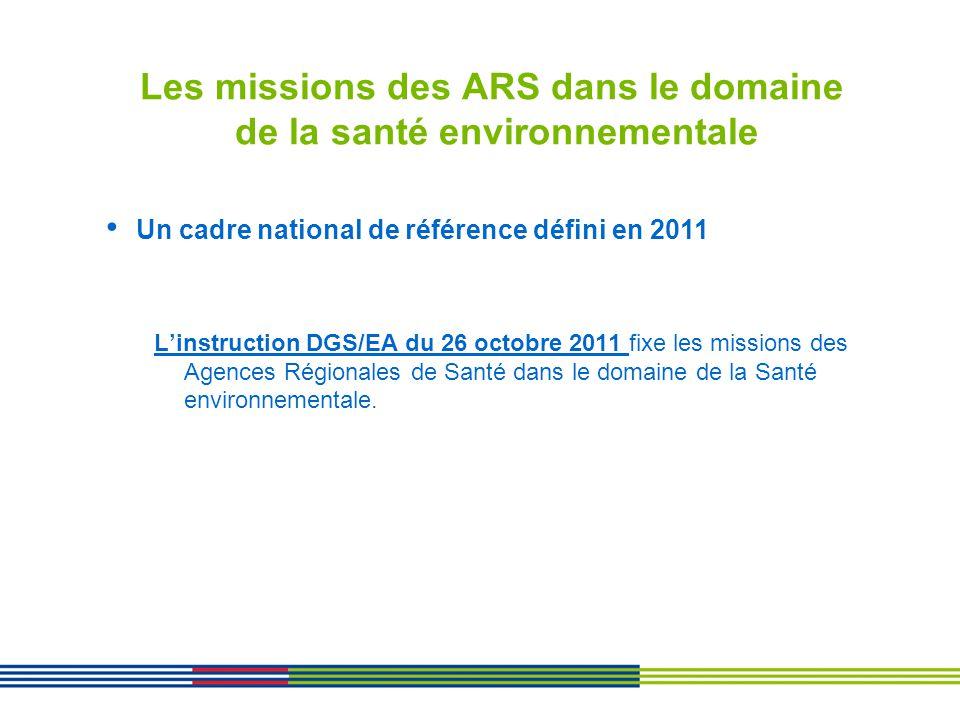 Les missions des ARS dans le domaine de la santé environnementale Linstruction DGS/EA du 26 octobre 2011 fixe les missions des Agences Régionales de S